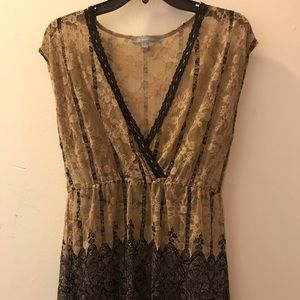 Tan and Black Lace overlay blouse
